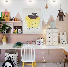 Fun desk area in kids room.