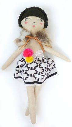 How cute is this doll? The perfect accent for a darling baby girl nursery.  #summerinthecity #modernnursery doll with poms :: mini boheme