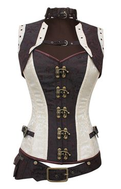 Alustrial Cloud Captain White Corset - The Violet Vixen