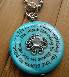 Dancing in the rainturquoise shell word phrase by lovelywordz, $10.75