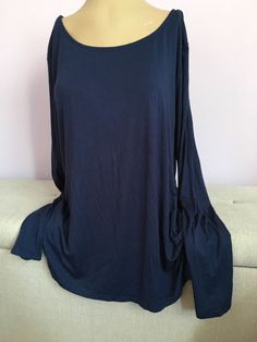 Ambiance Apparel Women'sTop Blouse Open Back Navy Sz 3X Plus Size New Sexy #Ambiance #Blouse #Casual