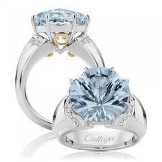 Callejia Nova 7.40 ct Astar cut Aquamarine Ring in 18k White Gold with White Diamonds