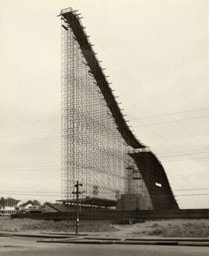 Construction of temporary ski slope at Empire Stadium in Vancouver, 1954