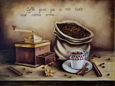 Oil painting Original Still Life Painting Picture of coffee