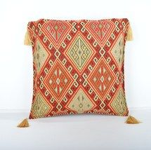 16x16'' Fabric kilim Style pillow red pillow,kilim Pattern Pillow Cover  - $13.00