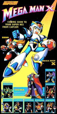 "Nintendo Power ""Mega Man X"" poster Mega Man, Cry Anime, Anime Manga, Anime Art, Retro Video Games, Video Game Art, Retro Games, Pac Man, Super Smash Bros"