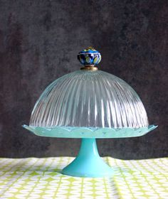 DIY Light fixture cake stand dome with drawer pull handle!