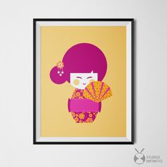 Japanese Wall Art Yellow Pink Decor Orange Purple Kokeshi Doll Japanese Doll Art Print Printable Kokeshi 11x14 Art Print Girls Room Decor