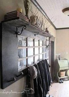 Coat Rack From An Old Door and Shelf