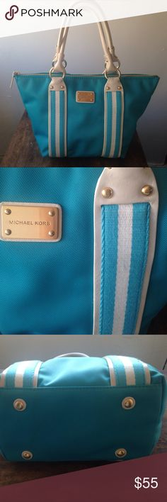 Michael Kors Tote Michael Kors tote with a beautiful blue or turquoise color. White details and brushed gold hardware. On the inside there are two pockets, one perfect for a phone, the other closes with a zipper. The purse is gently used with some scuffs on the handle (see photos) This purse pairs nicely with all styles. Let me know if you have questions or need more photos! Michael Kors Bags