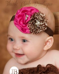 Baby headband, baby headbands,Hot Pink headband,newborn headband,shabby chic headband,couture Headband, giraffe baby headband,Baby Hair Bows