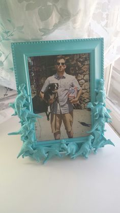 blue dinosaur picture frame by CheeseCrafty on Etsy, $23.00