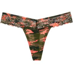 The Fave Thong Cotton & Lace (815 RSD) ❤ liked on Polyvore featuring intimates, panties, lingerie, sunset camo, lace lingerie, cotton lace thong, lingerie thong, camoflage lingerie and lacy thong