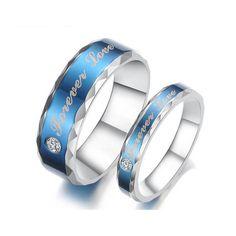 Forever Love Couple Rings in Blue