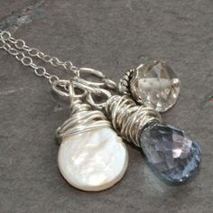 Blue Charm Necklace w Mystic Quartz Pearl in Sterling Silver by Maggie McMane Designs. $42.00, via Etsy.