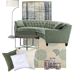Sofa Pillows Greens and creams semi circular sofa