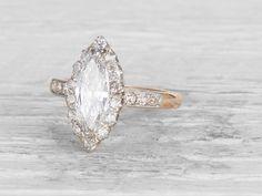 1.09 CARAT EDWARDIAN MARQUISE-CUT DIAMOND ENGAGEMENT RING