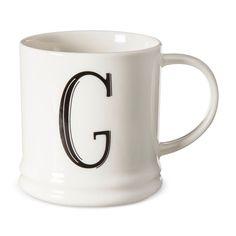 Monogrammed Porcelain Mug 15oz White with Black Letter G - Threshold, Black White