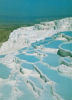 One of the coolest things I've ever seen in person. Pictures don't do them justice. Mineral Baths in Pamukkale, Turkey
