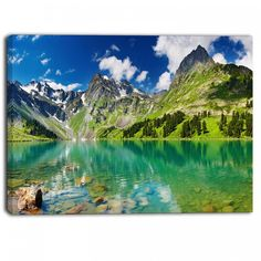 Bright Day Mountain Lake Photography Canvas Art Print