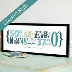 Items similar to Personalized Typographical Coordinate Print, Coastal Style - Unique gift for wedding, anniversary, new home, etc - Personalised on Etsy Coastal Style, Coastal Decor, Home Suites, Photographs And Memories, Beach Signs, Pebble Beach, Coastal Homes, Where The Heart Is, New Homes