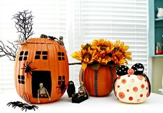3 Ideas for Decorating Faux Pumpkins...or real ones via mom4real.com
