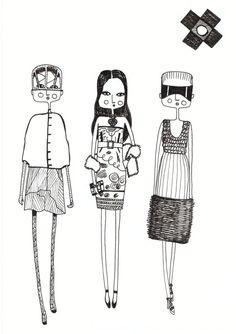 Fashion illustration, quirky print, fashion art, fashion print, girl art, girls room art, black and white