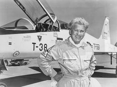 Jackie Cochran with her record-setting Northrop T-38A-30-NO Talon, 60-0551, at Edwards Air Force Base, 1961. (U.S. Air Force)