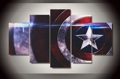 Style Your Home Today With This Amazing 5 Piece Multi Panel Modern Home Decor Framed Marvel Comics Captain America Shield Wall Canvas Art For $99.98  Discover more canvas selection here http://www.octotreasures.com  If you want to create a customized canvas by printing your own pictures or photos, please contact us.