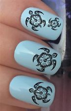 NAIL ART SET #332 x24 TRIBAL HIBISCUS SEA TURTLE WATER TRANSFER DECALS STICKERS