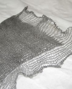 """fromaSEED's """"Visceral"""" doodling project, fine merino doubled with Habu stainless."""