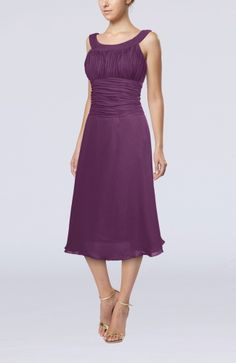 Casual A-line Scoop Zipper Tea Length Bridesmaid Dresses (I personally love the royal purple)