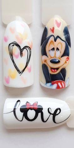 Disney Acrylic Nails, Classy Acrylic Nails, Gel Acrylic Nails, Disney Nail Designs, Nail Art Designs, Cartoon Nail Designs, Nail Art Coeur, Japan Nail Art, Mickey Nails