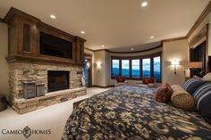 Spacious Guest Bedroom by Utah Home Builder, Cameo Homes Inc. in Park City, Utah. Park City Showcase of Homes