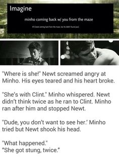 Newt teared up and ran to Clint. Clint didn't let him in so Newt pushed past him and leaned beside you. *wakes up* You: Minho what happened? Did I kill the Griver? Newt: Are you okay? You: Yeah fine, I've been through worse. Maze Runner Funny, Maze Runner Thomas, Maze Runner The Scorch, Maze Runner Cast, Maze Runner Movie, Thomas Brodie Sangster, Minho, Maze Runner Trilogy, Maze Runner Series