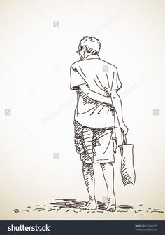 Sketch of old man walking barefoot Back view Hand drawn Vector illustration Human Figure Sketches, Human Sketch, Human Figure Drawing, Figure Sketching, Back Drawing, Guy Drawing, Drawing People, Abstract Sketches, Art Drawings Sketches