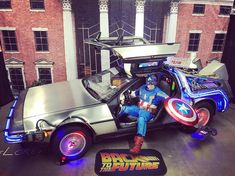 Better than suspended animation.  #backtothefuture #delorean #captainamerica #steverogers #supersoldier #captainamericacosplay #bttf #marvelcosplay #teamfox #teamcap #comiccon #vibranium #88mph #avenger #sentinelofliberty #clocktower