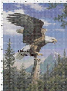 Screaming Eagle Cross Stitch Pattern