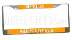 This Phi Mu Delta car tag frames in any standard license plate with just two screws.