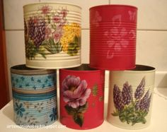 Image result for tin cans as plant pots