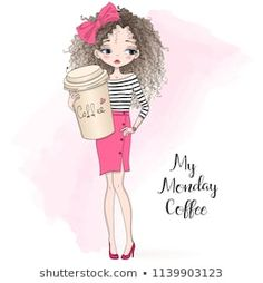 Hand drawn beautiful cute curly girl with big coffee in his hand. Little Girl Cartoon, Big Coffee, Coffee Time, Coffee Photography, Jehovah's Witnesses, Curly Girl, Portfolio, Big Eyes, Doll Patterns