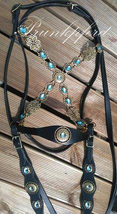 Hoofdstel bitloos Toon Sidepull barok Zaum turquoise door Prunkpferd