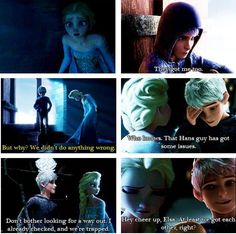 Queen Elsa and Jack Frost just can't stop how much I like this e.e