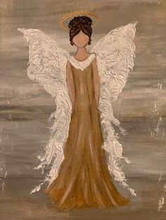 Easy Canvas Painting, Pallet Painting, Painting & Drawing, Canvas Art, Angel Artwork, Angel Paintings, Christmas Paintings On Canvas, Watercolor Paintings For Beginners, Angel Drawing