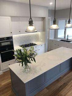 Shaker Style Kitchen Cabinets, Galley Kitchen Design, Shaker Style Kitchens, Home Kitchens, Kitchen Layout, Kitchen Island, Stone Benchtop Kitchen, Timber Kitchen, Stone Kitchen