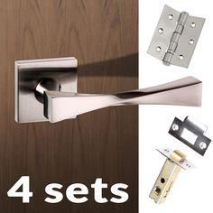 Four Pack Senza Pari Guido Lever on Flush Rose - Satin Nickel Handle.    #moderndoolever #moderndoorhandle #doorhandlepack #doorleverpack #doorhandle #doorlever