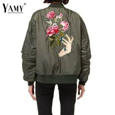 New arrival 2016 Floral Embroidery Jacket Coat Autumn long sleeve Stand collar baseball Bomber Jackets Pilots Casual Top Outwear #Affiliate