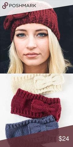 Head band with bow  This gorgeous head band will keep your ears warm all winter! Beautiful chunky knit, thick material, classic bow! Accessories Hats