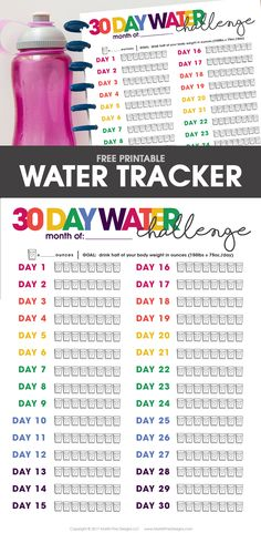 Printable Water Tracker Struggle to drink enough water every day? Using the free printable Water Tracker, you can make water drinking part of your daily routine. Fitness Journal, Food Journal, Fitness Planner, Journal Ideas, Planner Journal, Goals Printable, Printable Planner, Free Printables, Tracker Free