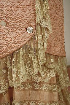 French silk negligee ,  c.1880, detail